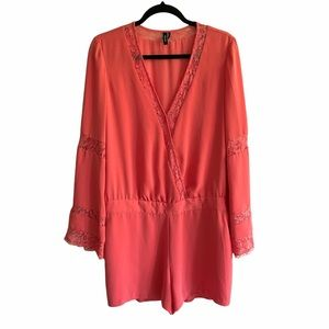 MARCIANO Long Sleeve V-Neck Shorts Romper Lace Detail Coral / Melon 10